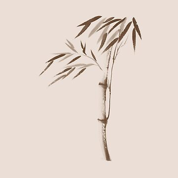 Illustration of a bamboo stalk with leaves in beige and brown Japanese Zen artwork art print by AwenArtPrints