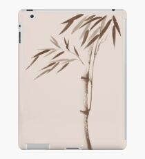 Illustration of a bamboo stalk with leaves in beige and brown Japanese Zen artwork art print iPad Case/Skin