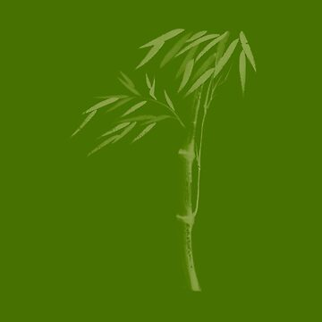 Illustration of a bamboo stalk with leaves Japanese Zen Sumi-e artwork in natural green colors art print by AwenArtPrints