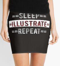 Geschenk für Illustratoren essen Schlaf illustrieren wiederholen Minirock