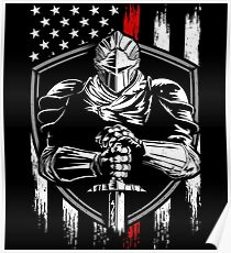 Knight Warrior American Flag Red line Poster