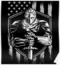 Knight Warrior American Flag  Poster