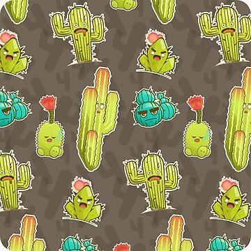 Vector Chibi Succulent Pattern by msharris22