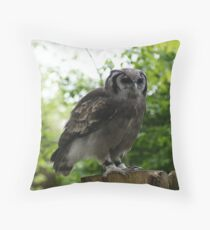 Milky Eagle Owl Throw Pillow