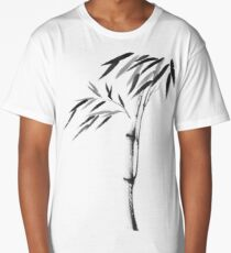 Japanese Zen painting of Bamboo stalk with leaves black ink on white rice paper art print Long T-Shirt