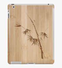 Delicate design Bamboo stalk with young leaves Zen style illustration on wood art print iPad Case/Skin