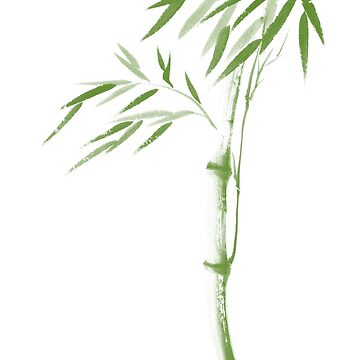 Zen illustration of a green bamboo stalk with leaves on white background art print by AwenArtPrints