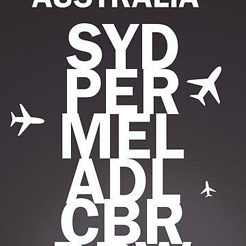 SYD, PER, MEL, ADL, CBR, DRW - Black design. by Aviators