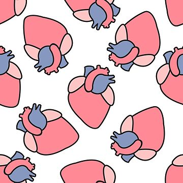 human heart seamless pattern by zizimentos