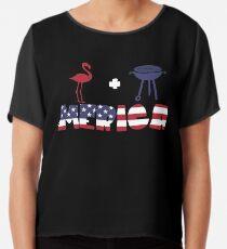 Flamingo plus Barbeque Merica American Flag Blusa