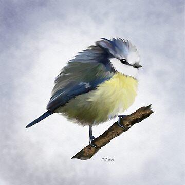 Bird: Young Blue Tit by bamalam-art