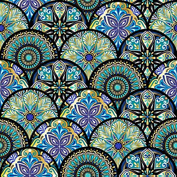 Colorful floral seamless pattern from circles with mandala in patchwork boho chic style by amekamura