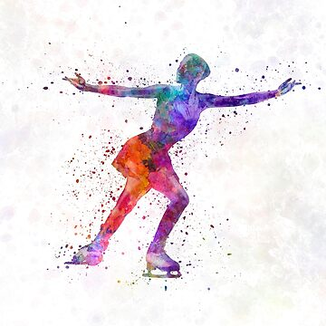 Figure skating 1 in watercolor with splatters by paulrommer