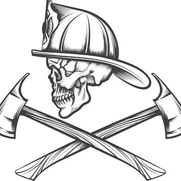 Skull in Fire Helmet and Axes by devaleta