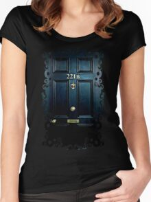 Haunted Blue Door with 221b number Women's Fitted Scoop T-Shirt