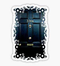 Haunted Blue Door with 221b number Sticker