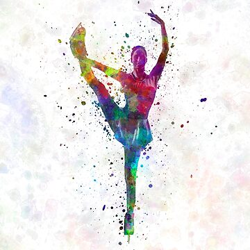 Figure skating 3 in watercolor with splatters by paulrommer