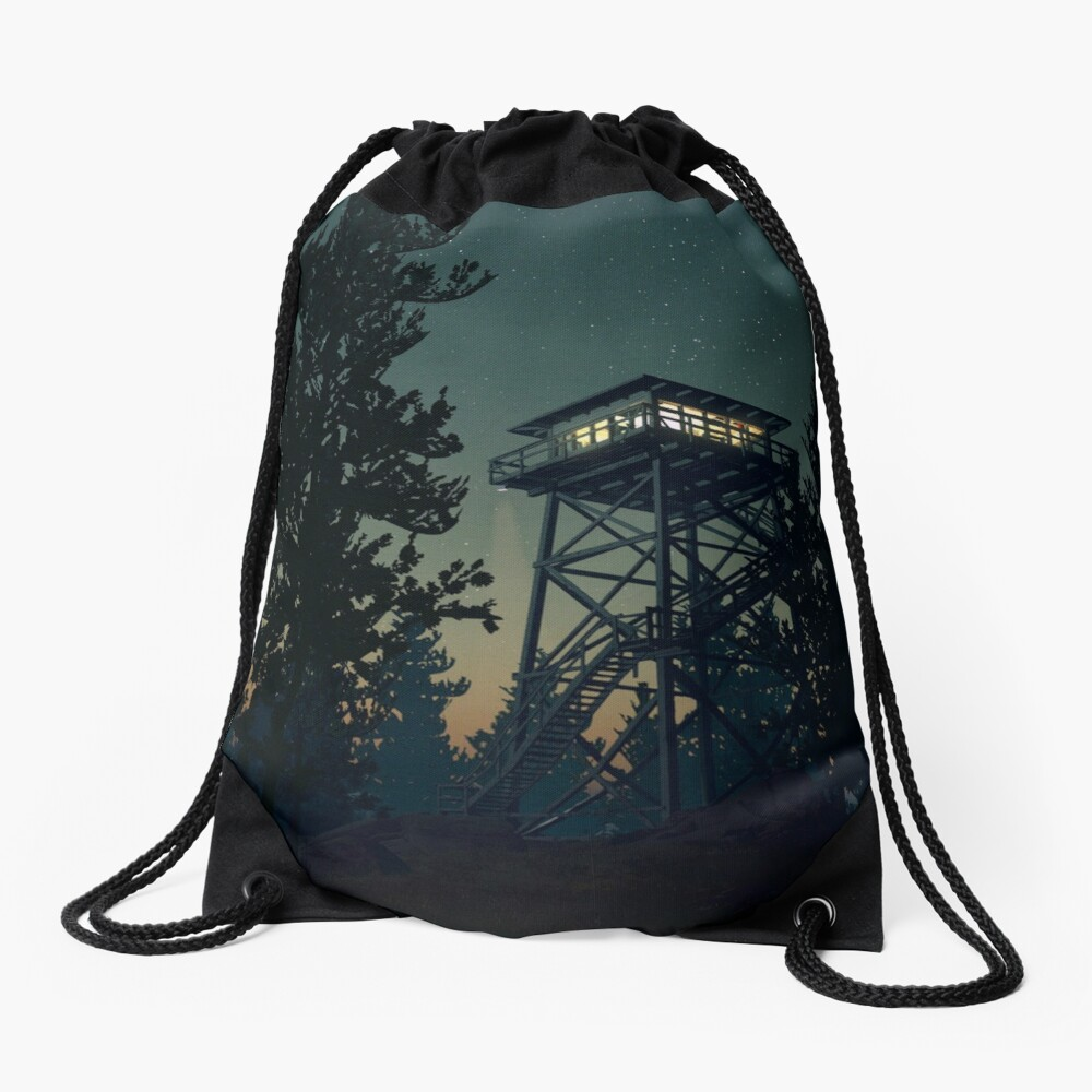 Firewatch Nighttime Art Design - 4k Drawstring Bag