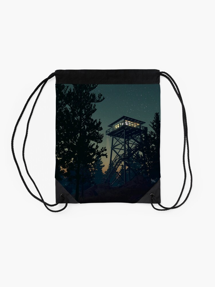 Alternate view of Firewatch Nighttime Art Design - 4k Drawstring Bag