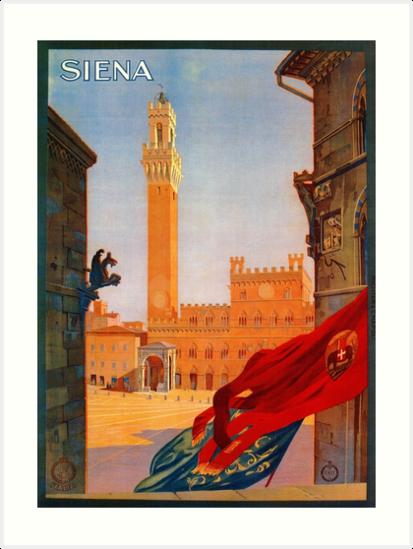 Vintage Siena Italian travel advertising by aapshop