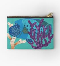 Fish Wrasse with Coral Genuine Aboriginal Art 3 Studio Pouch