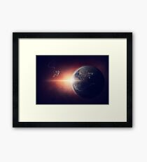 Astronaut Space Earth Planet Framed Print