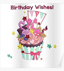 Birthday Wishes Girly Cupcake Poster