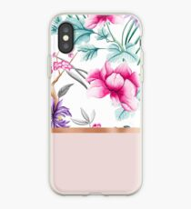 Chinoiserie pearl white floral & rose gold iPhone Case