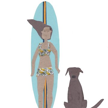 Surf girl with longboard and dog by sandymitchell