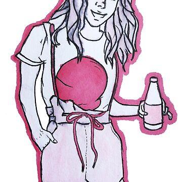 Cool Pink Manga Pop Girl drawing by daysfall