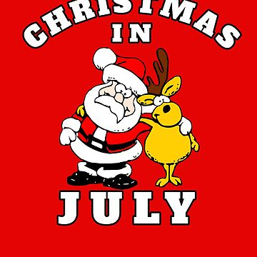 Christmas In July Party Santa With Reindeer July Christmas  by hustlagirl