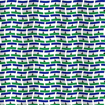 Lesotho flag tiled pattern by stuwdamdorp
