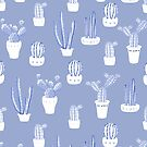 Elegant Blue Cacti in Pots Pattern by oursunnycdays