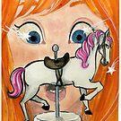 « emerveillée par le cheval qui tourne » par Castel Yvonne