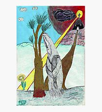 Priest walking away from church toward an enlightened flower. Photographic Print