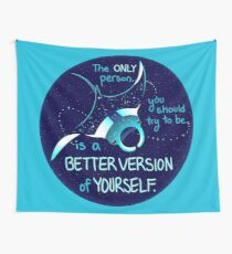 """""""The Only Person You Should Try to Be"""" Galaxy Manta Ray Wall Tapestry"""