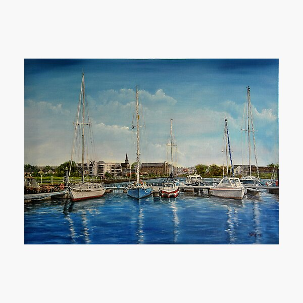 """""""View of Kilrush from the Marina"""" - oil painting Photographic Print"""