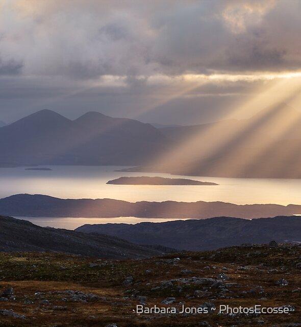 Applecross. Bealach na Ba. Summit View Sunbeams. North Coast 500.  Scotland. by Barbara  Jones ~ PhotosEcosse