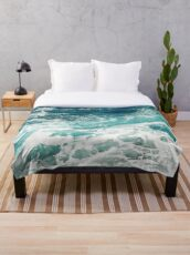 Blue Ocean Waves  Throw Blanket