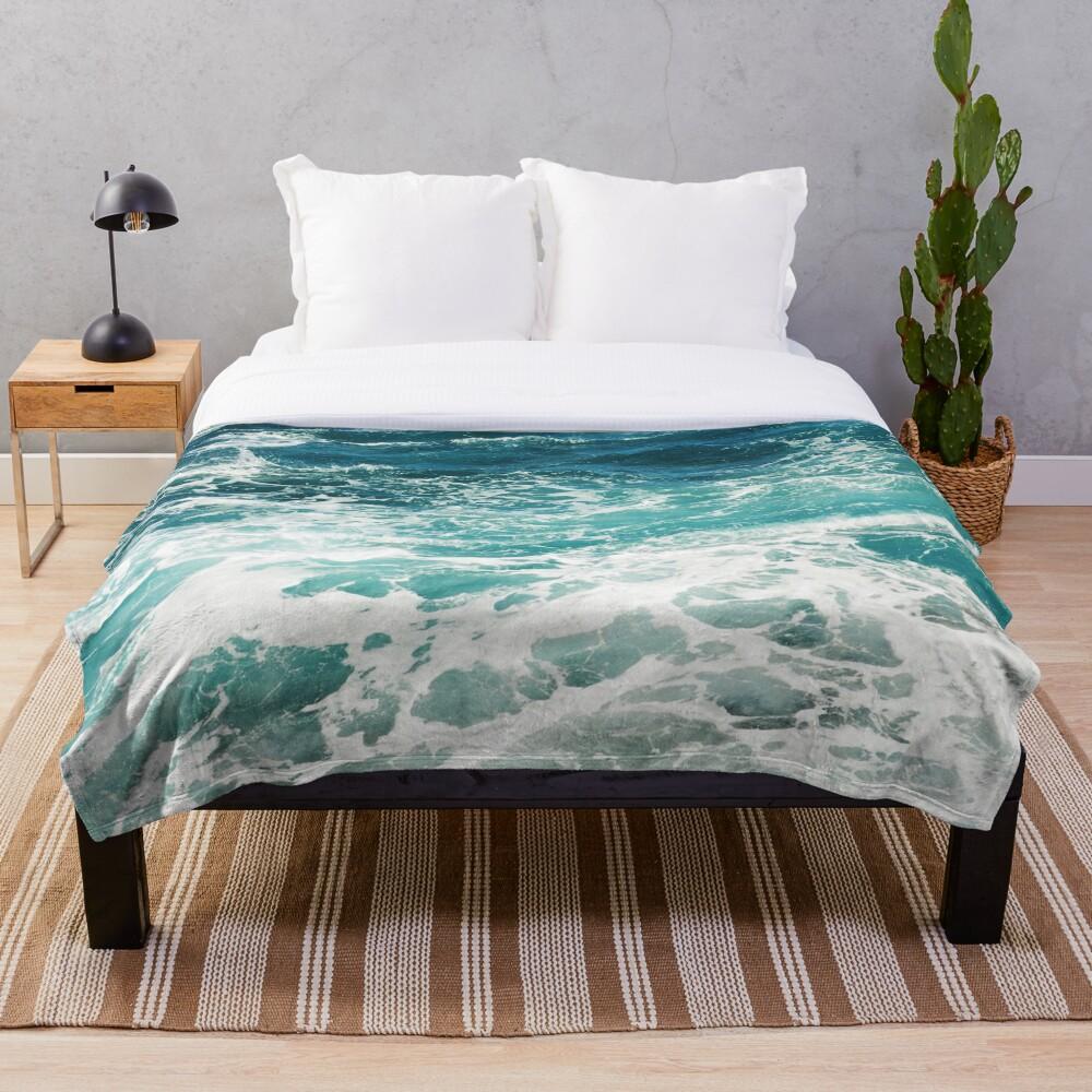 Blue Ocean Waves  Throw Blanket