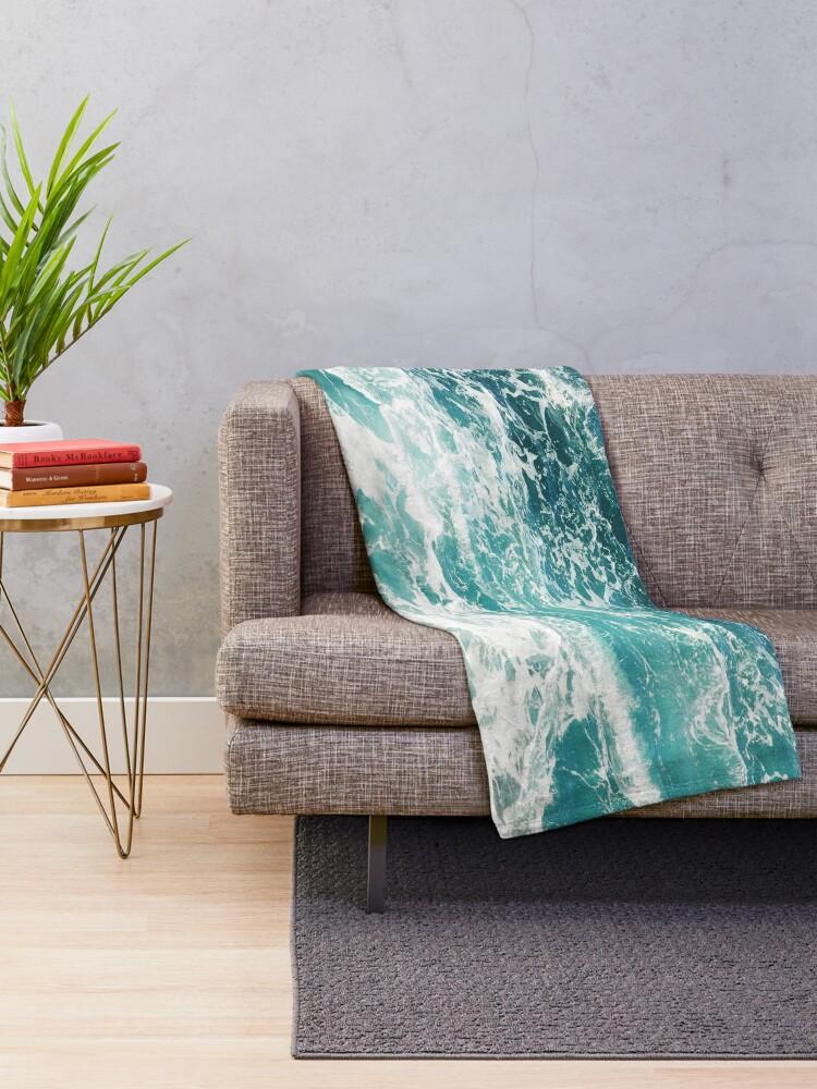 Alternate view of Blue Ocean Waves  Throw Blanket