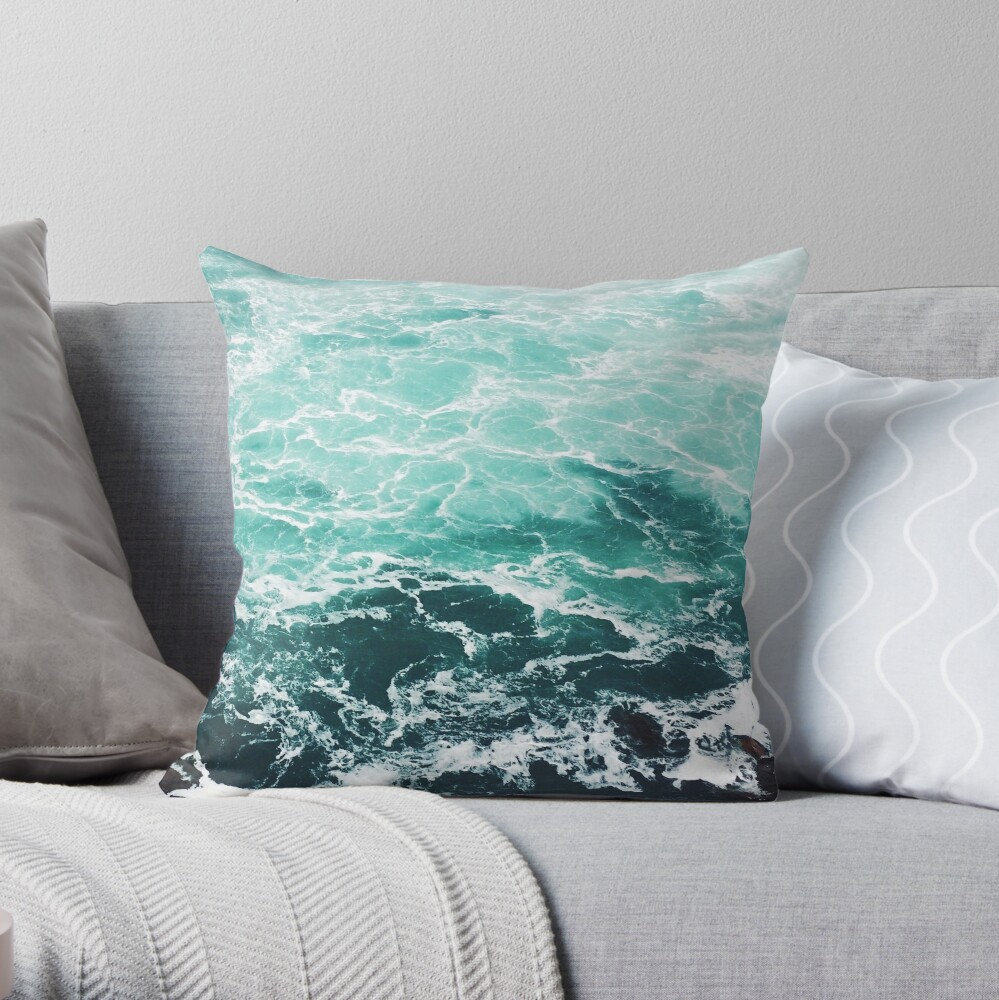 Blue Ocean Summer Beach Waves Throw Pillow