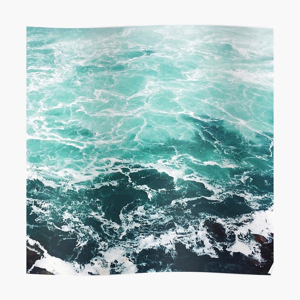 Blauer Ozean Sommer Strand Wellen Poster