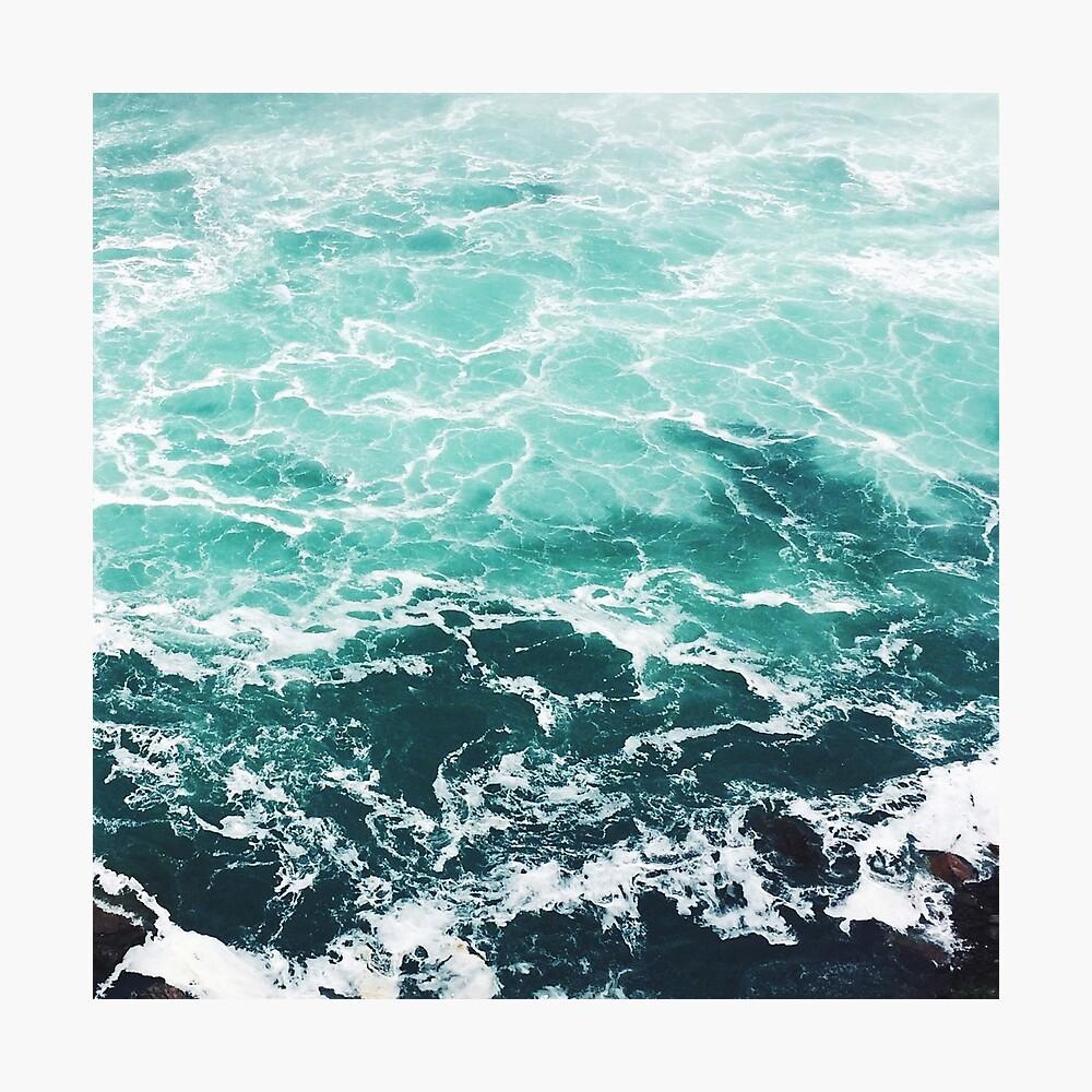 Blauer Ozean Sommer Strand Wellen Fotodruck