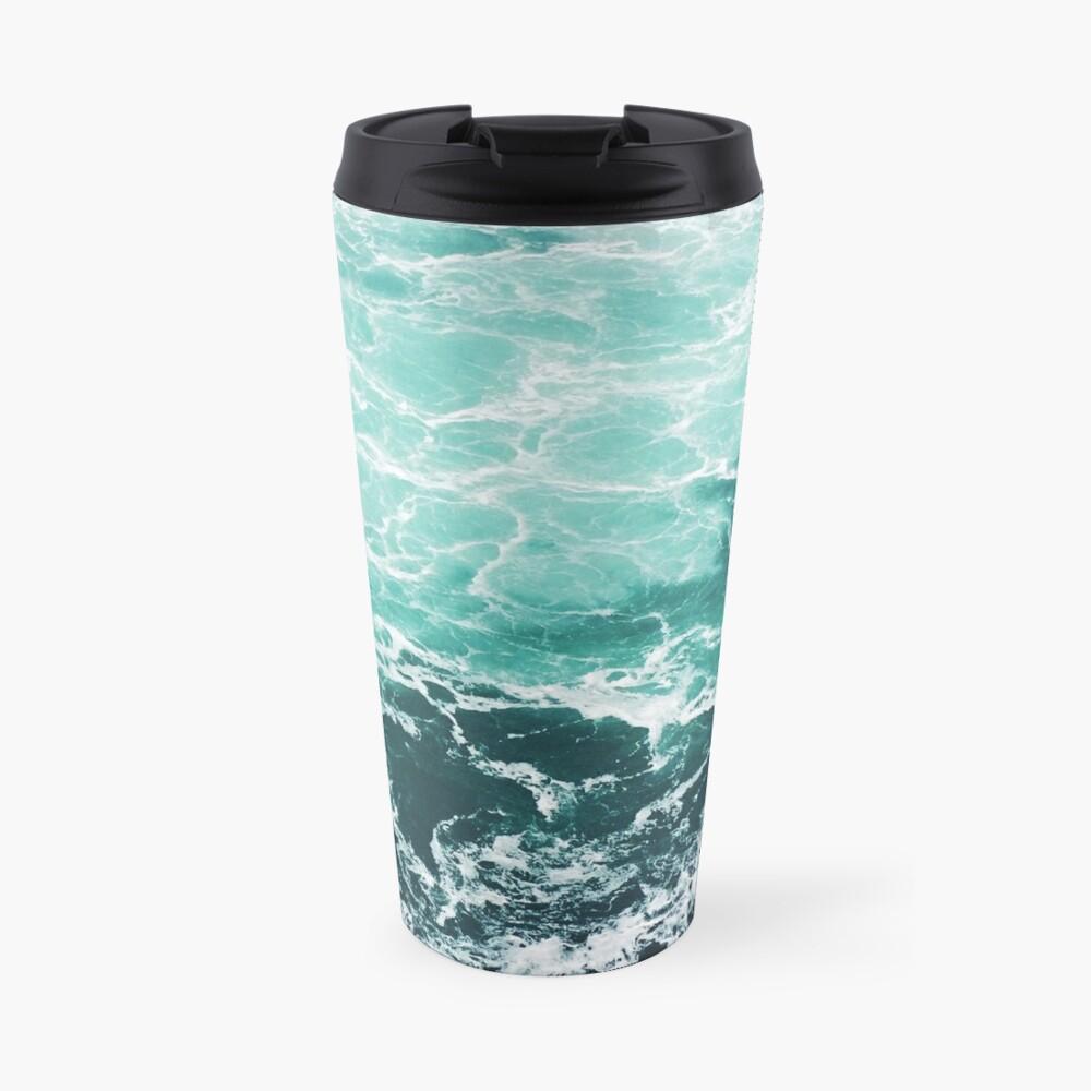 Blauer Ozean Sommer Strand Wellen Thermobecher