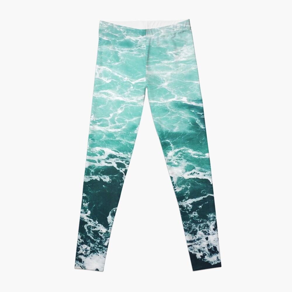 Blauer Ozean Sommer Strand Wellen Leggings