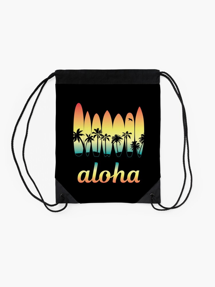 Alternate view of Aloha Surfing Good Vibes Drawstring Bag