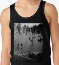 Against the cold Black and White Tank Top