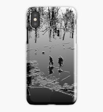 Against the cold Black and White iPhone Case
