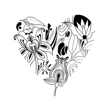 Folky floral heart by Clare-Wright